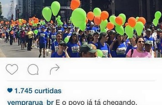 Vem Pra Rua usa foto de evento de saúde como se fosse de manifestantes pró-impeachment