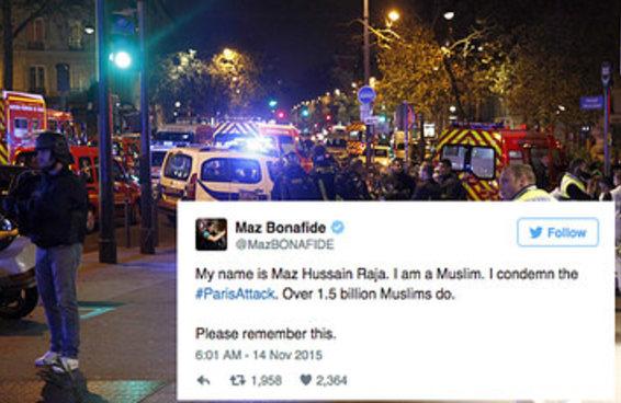 """Muçulmanos de todo o mundo condenam o a islamofobia com tuítes de apoio a Paris que dizem """"Eu sou muçulmano"""""""