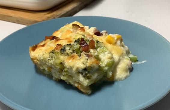 Lasanha de brócolis, milho e bacon