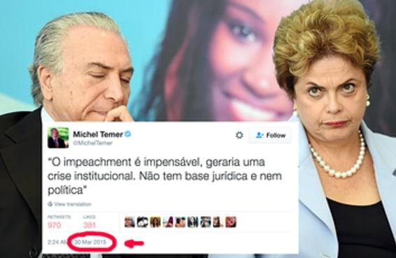 """As pessoas estão dando RT neste tuíte do Temer dizendo que """"o impeachment é impensável"""""""