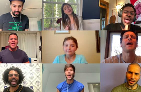 """Lin-Manuel Miranda e o elenco original de """"Hamilton"""" surpreenderam um fã de 9 anos com uma apresentação no programa do YouTube de John Krasinski"""