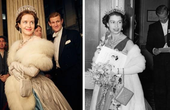 """O elenco da série """"The Crown"""" vs. a família real britânica da vida real"""