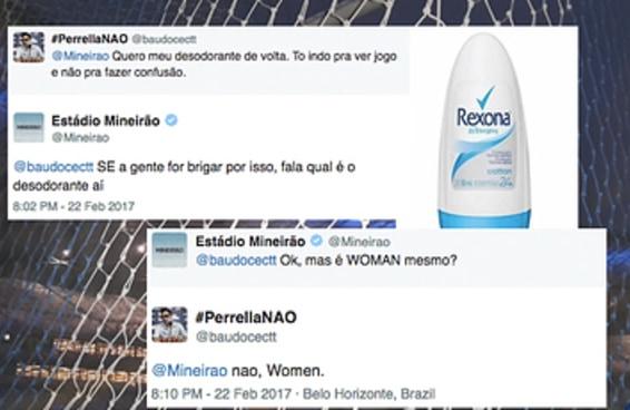 Um torcedor e o Mineirão tiveram a conversa mais doida no Twitter por causa de um desodorante