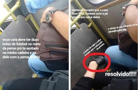 Esta jovem tem uma tática para evitar que homens ESCANCAREM as pernas no ônibus