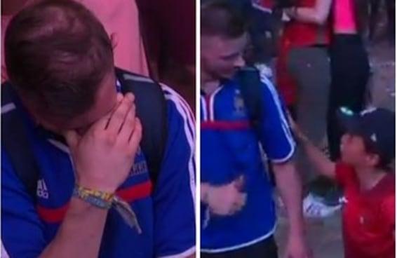 Um menino português consolou um torcedor francês que estava aos prantos tocou o mundo inteiro