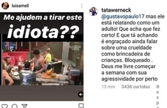 """Luisa Mell ficou PISTOLA ao ver Maycon do """"BBB"""" falando que amarrava bombinha em gatos"""