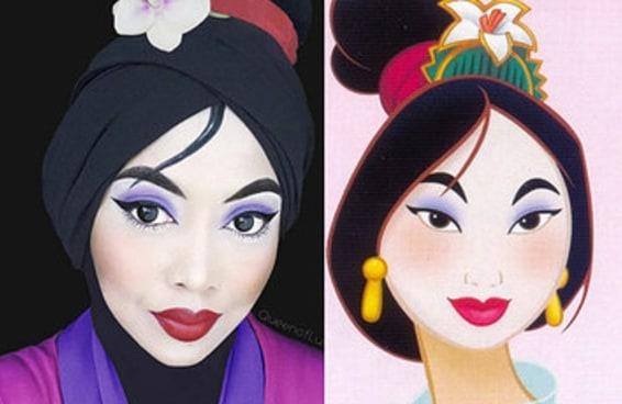 Esta mulher usa seu véu e maquiagem para transformar-se em personagens da Disney
