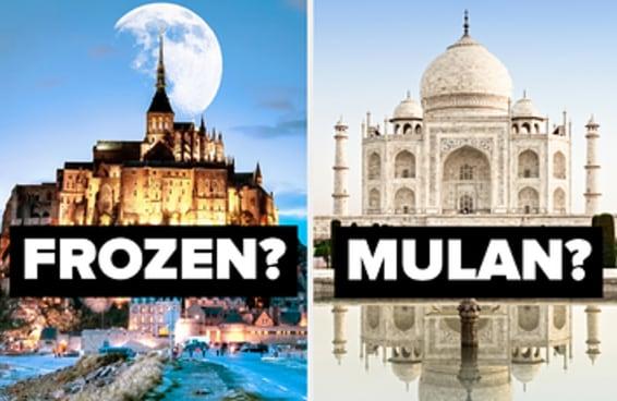 Você consegue dizer em quais filmes da Disney estes pontos turísticos aparecem?