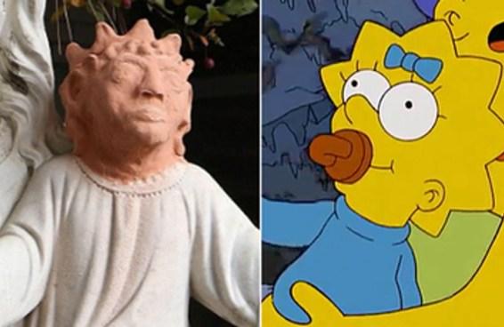 Uma artista nos abençoou transformando esta estátua de Jesus na Maggie Simpson