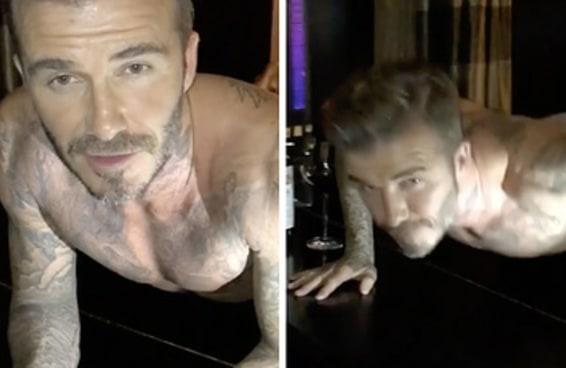 Apenas David Beckham fazendo flexões de cueca em cima de um piano