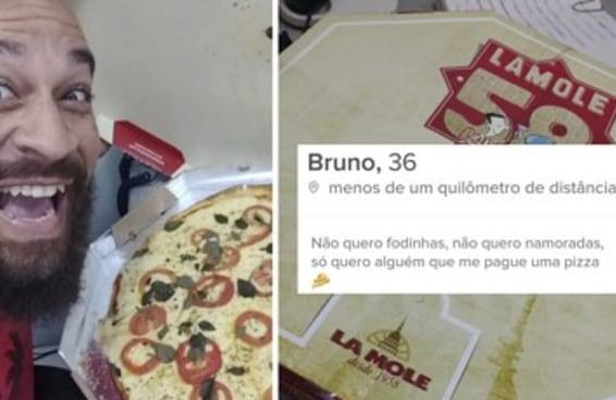 O Bruno usou Tinder para conseguir uma pizza DE GRAÇA