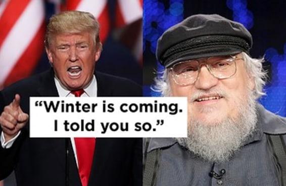 """""""O inverno está chegando"""", disse George R.R. Martin sobre vitória de Trump"""