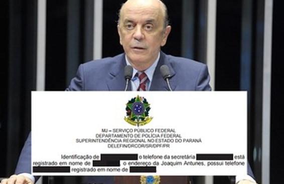 Tarja preta em relatório da PF revela nome de José Serra quando removida