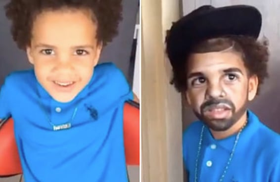É Impossível para de olhar parar esse menino de 5 anos com maquiagem de Drake