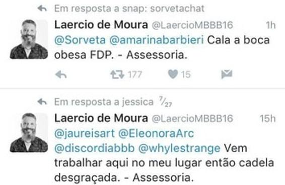 A conta de Twitter em nome do Laércio é falsa