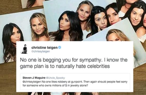 Chrissy Teigen contestou a cultura das celebridades após assalto de Kim