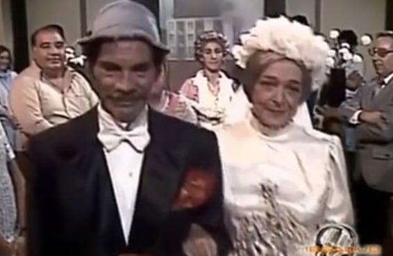Assista à cena inédita do casamento do Seu Madruga com Dona Clotilde