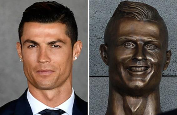 O Cristiano Ronaldo foi homenageado com uma escultura, mas ela não ficou muito parecida com ele