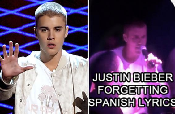 """Justin Bieber esqueceu a letra de """"Despacito"""" e resolveu cantar """"blá blá blá"""" no lugar"""