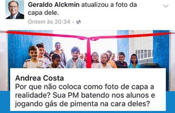 As pessoas estão indignadas com a nova imagem de capa do Facebook do Alckmin