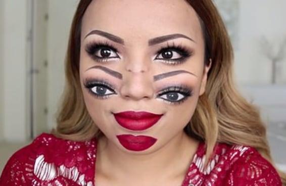 Esta maquiagem de Dia das Bruxas dupla face é alucinante