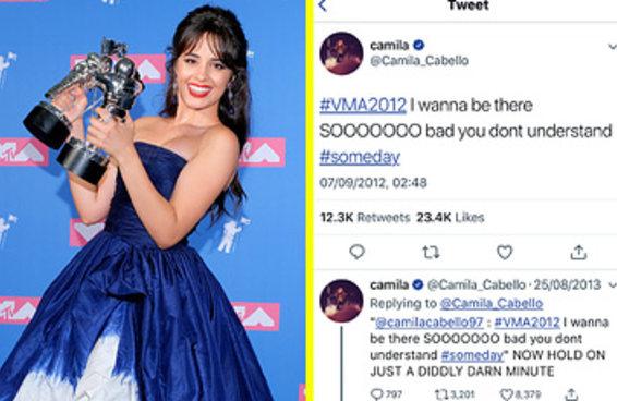 Depois de vencer VMA, Camila Cabello relembra e responde a tuíte de 2012