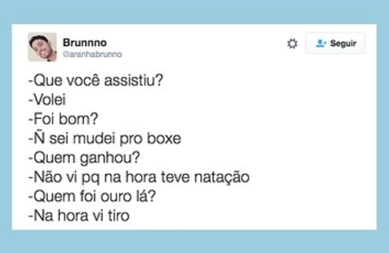 Estes tuítes representam o louco que nasceu em você nesta Olimpíada