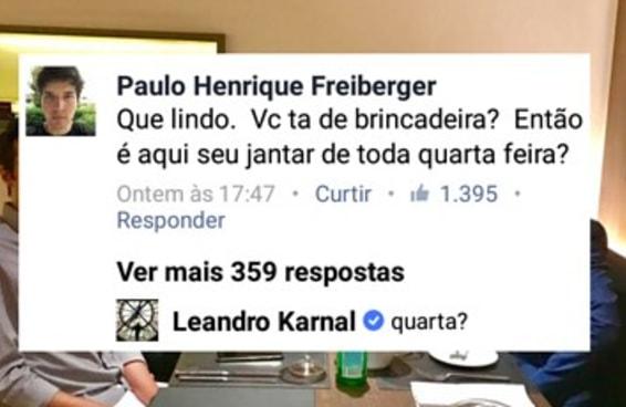 """Cantaram """"50 Reais"""" para o Leandro Karnal no Facebook e ele não entendeu nada"""
