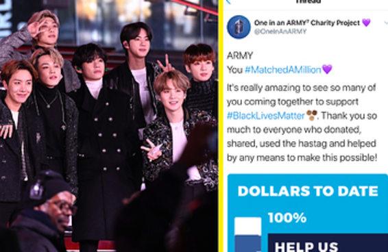 O BTS doou US$ 1 milhão ao Black Lives Matter, e em pouco mais de um dia os fãs igualaram a doação