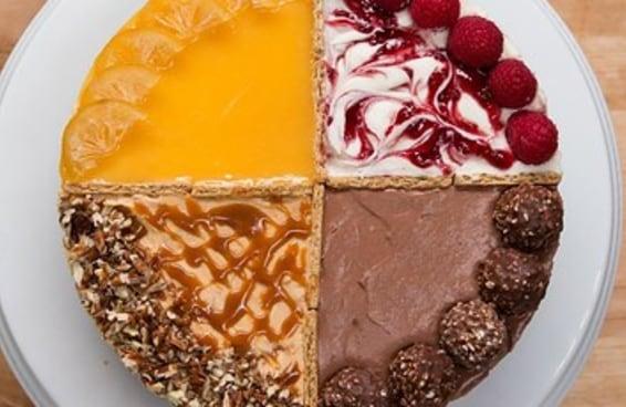 4 sabores, um único cheesecake