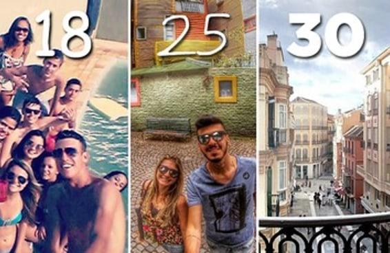10 diferenças em viajar com amigos aos 18, 25 e 30 anos