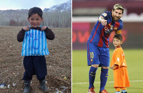 O mais famoso fã do Messi finalmente o conheceu e não quis sair do campo