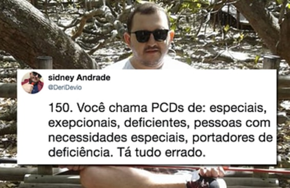 A cada like recebido o Sidney conta uma atitude preconceituosa que pessoas com deficiência sofrem