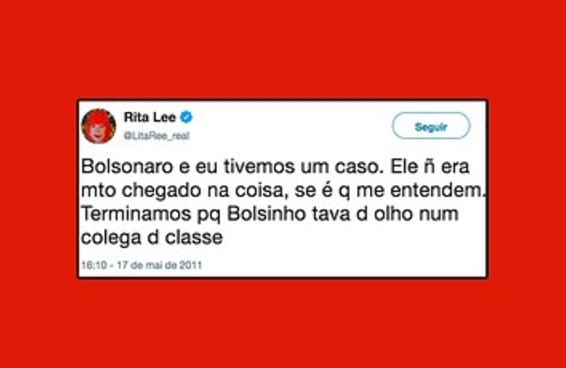 Tuíte da Rita Lee sobre Bolsonaro é fanfic pois ela já foi fanfiqueira no Twitter