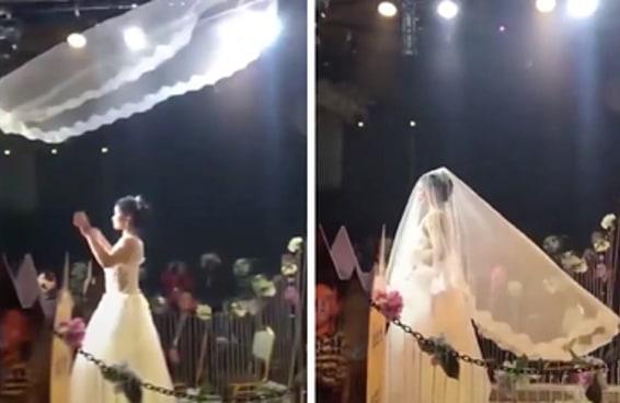 Esta nova tendência dos casamentos chineses com véus voadores é no mínimo curiosa