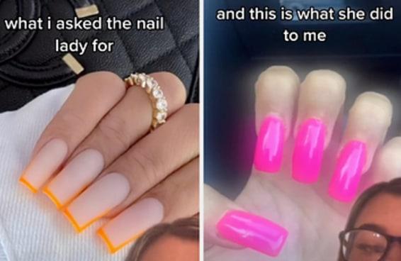 As pessoas estão compartilhando comparações entre a manicure que pediram a que receberam
