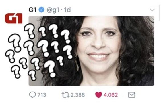 O G1 fez um post misterioso sobre a Gal Costa e os leitores responderam à altura