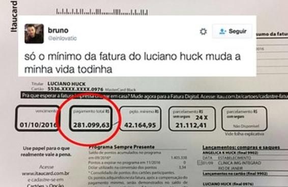 A suposta fatura do Luciano Huck é mais do que você já gastou na sua vida