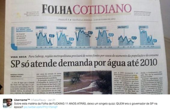 Esta foto resume o absurdo da crise da água em São Paulo