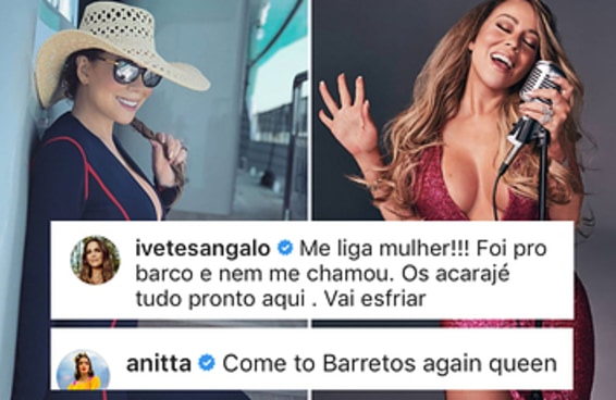 Ivete e Anitta estão virando as fãs mais hilárias da Mariah Carey no Instagram