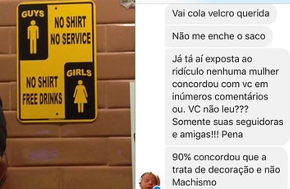 Dono de lanchonete ataca cliente que denunciou cartazes machistas