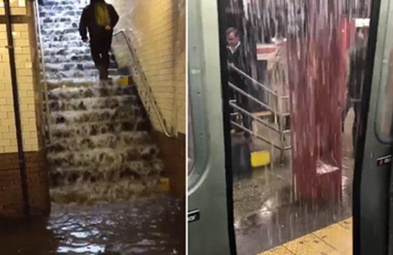 Está chovendo tanto em Nova York que o metrô começou a inundar