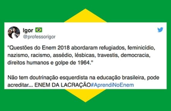 """Para a surpresa de ninguém, eleitores do Bolsonaro acharam o Enem """"de esquerda"""""""