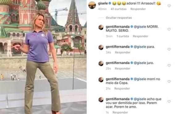 Fernanda Gentil recebeu um comentário da Gisele e reagiu como se fosse você
