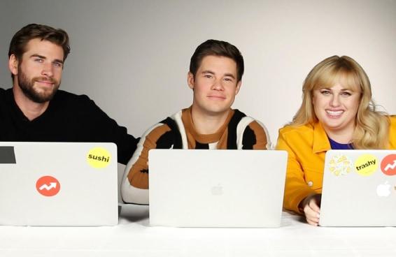 Liam Hemsworth, Rebel Wilson e Adam Devine fazem um teste do BuzzFeed