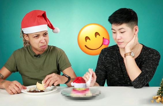 Pessoas experimentam comidas de Natal ao redor do mundo