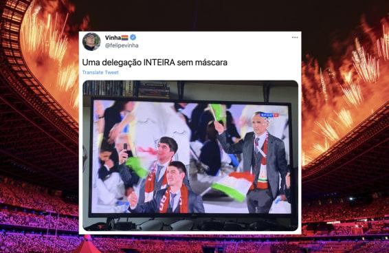 Algumas delegações simplesmente resolveram não usar máscara na abertura da Olimpíada