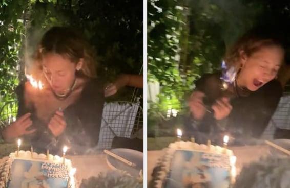 Nicole Richie foi assoprar velinhas de aniversário mas seu cabelo acabou pegando fogo