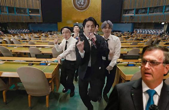 O discurso do BTS na ONU explodiu o do Bolsonaro feito uma dinamite