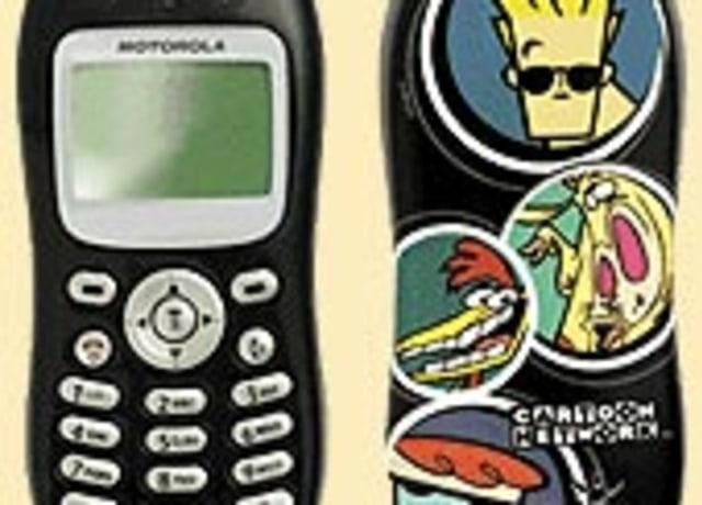 Imagem de celular preto com desenhos dos personagens: Jonnhy Bravo, Vaca, Frango e Dexter.